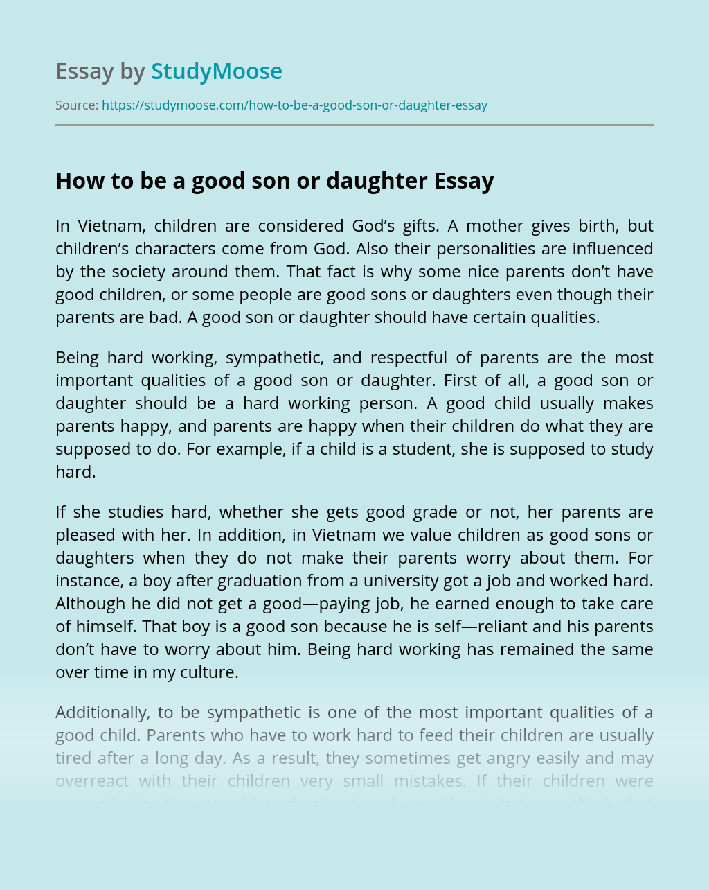 How to be a good son or daughter
