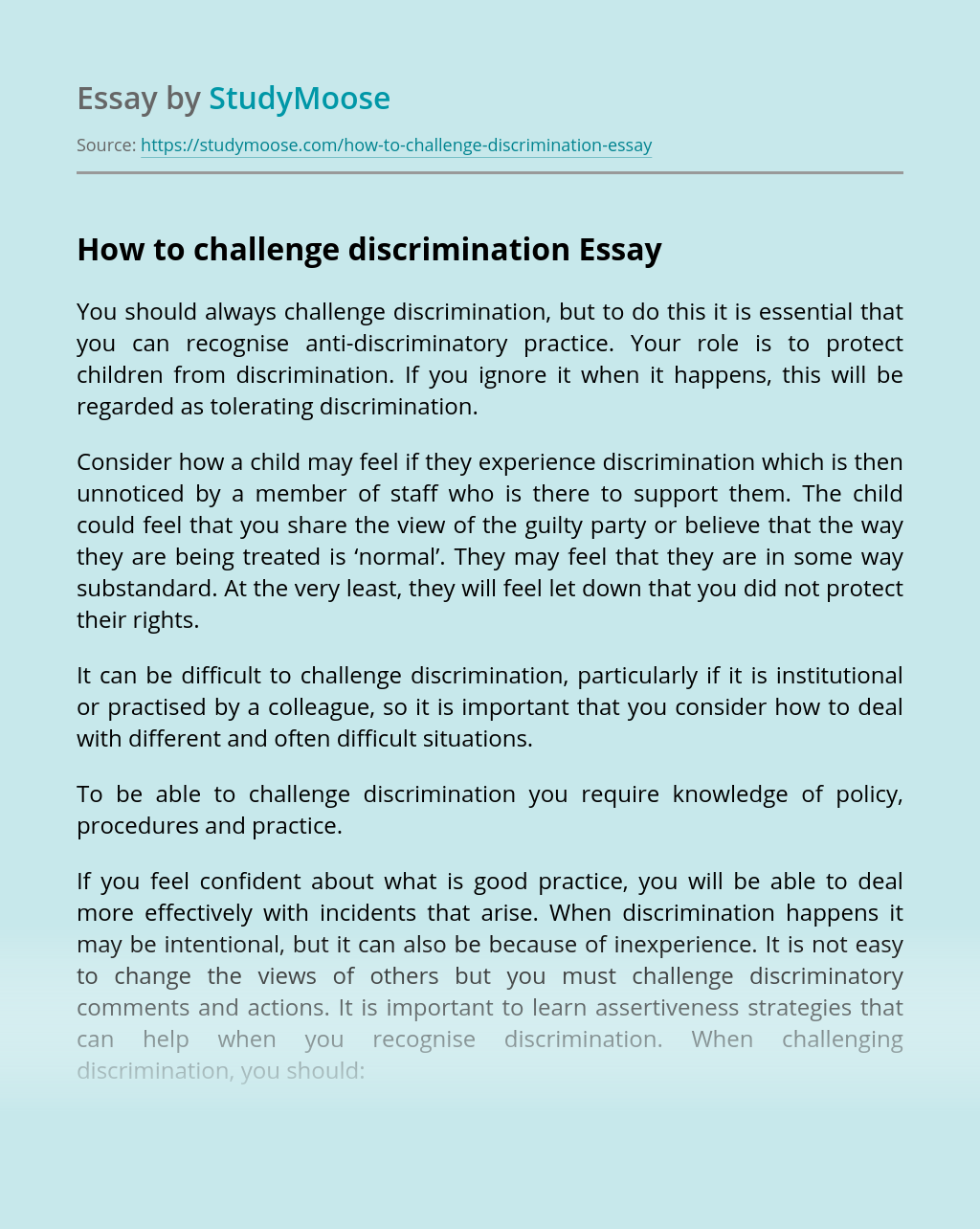 How to challenge discrimination
