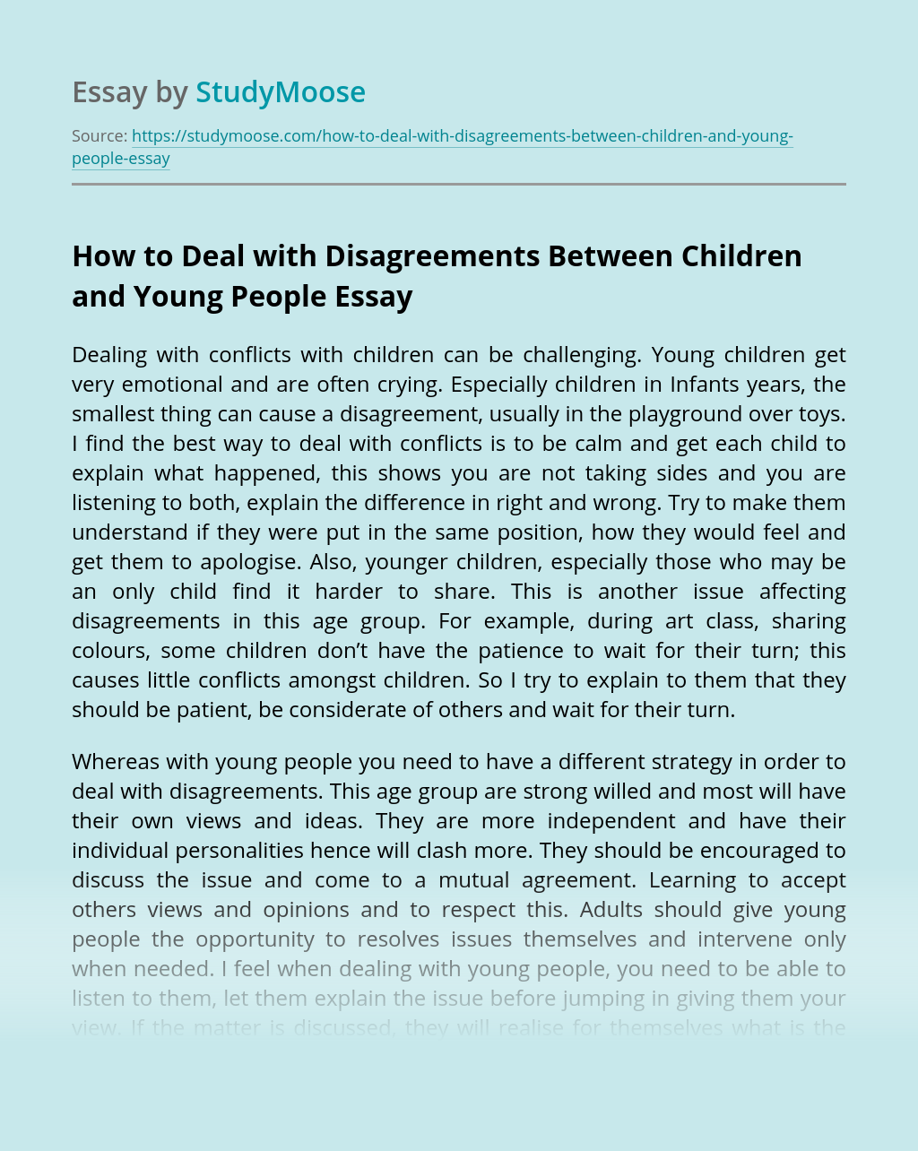 How to Deal with Disagreements Between Children and Young People