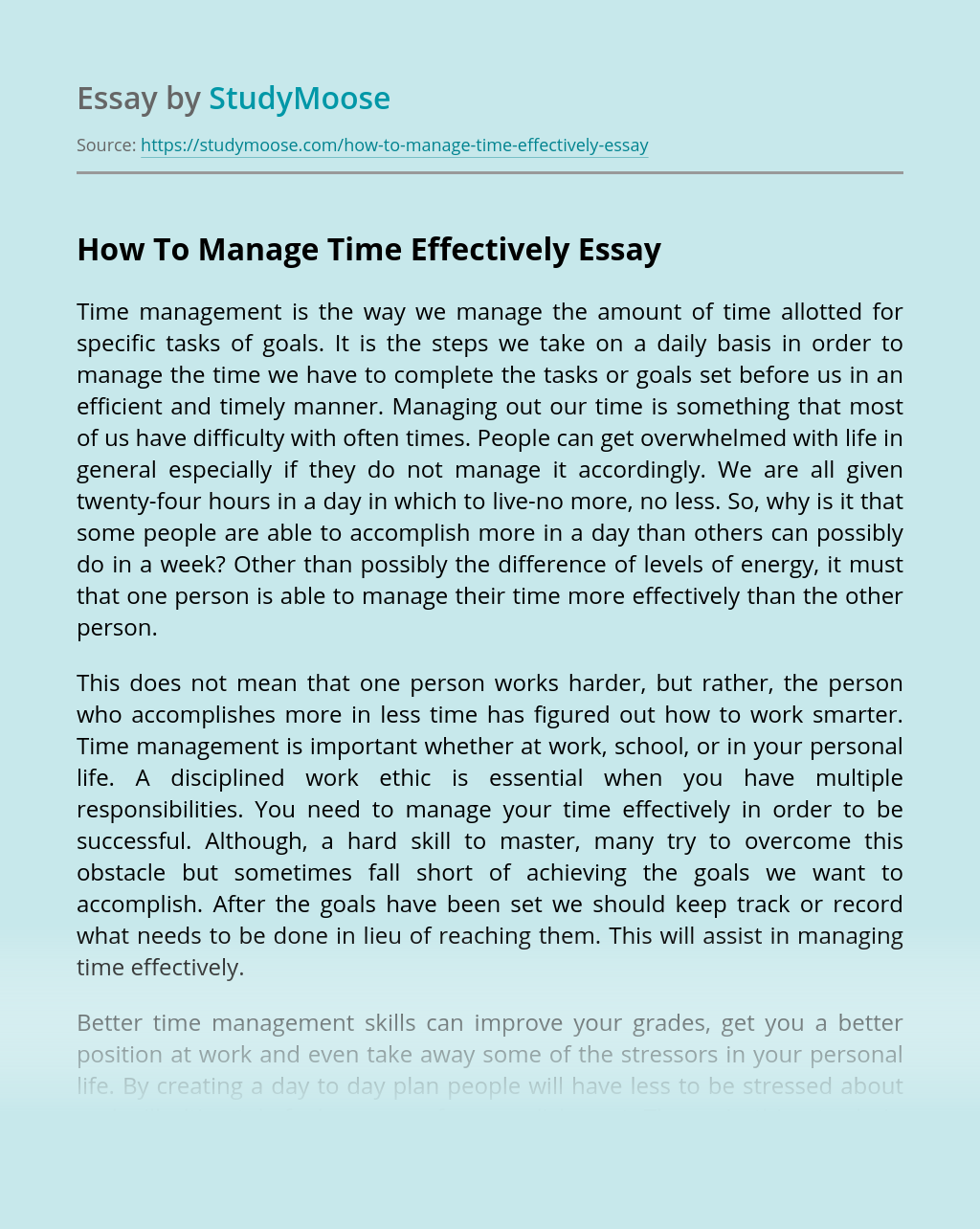 How To Manage Money Effectively Essay