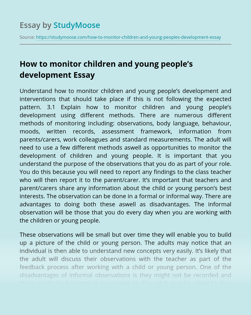 How to monitor children and young people's development