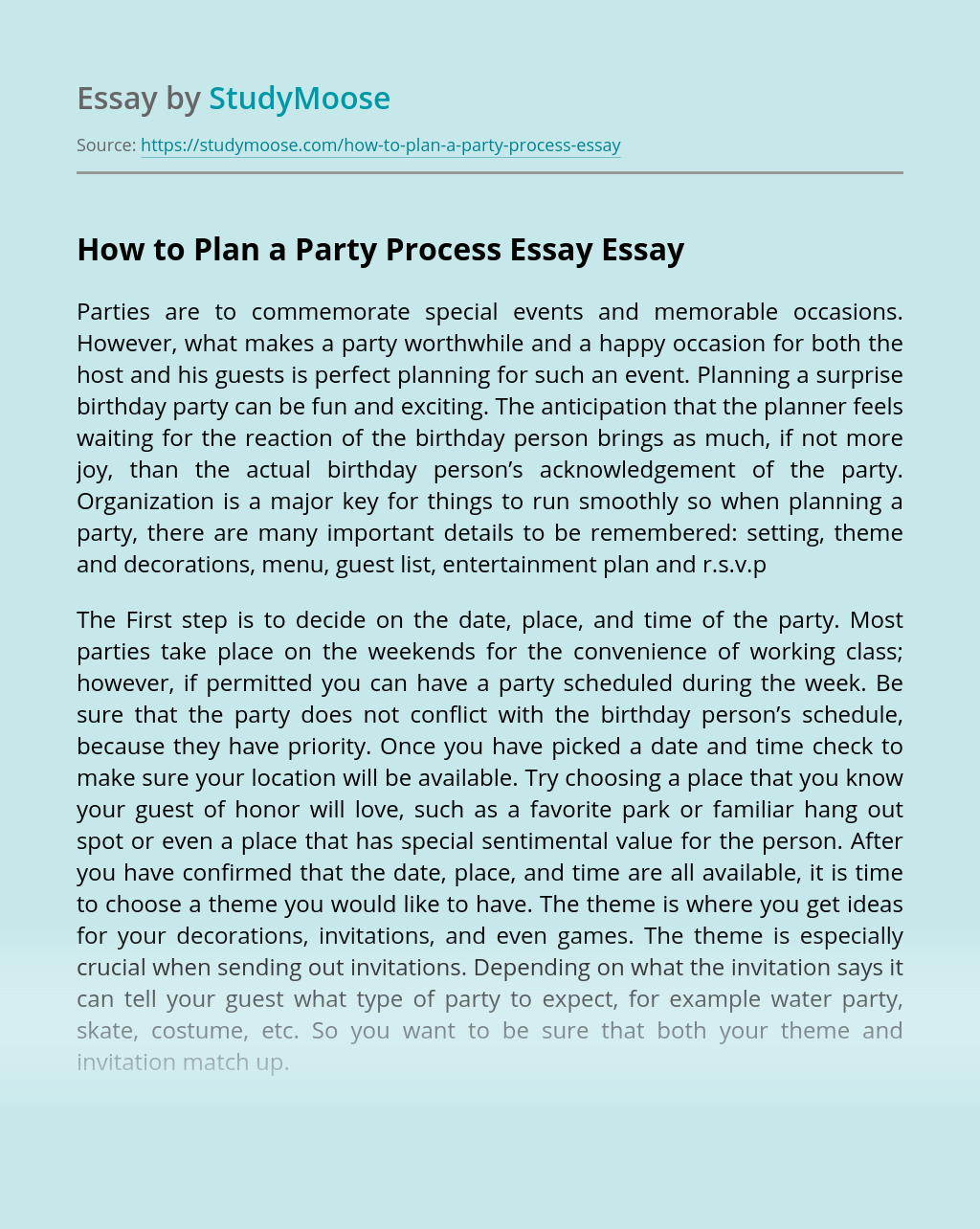 How to Plan a Party Process Essay
