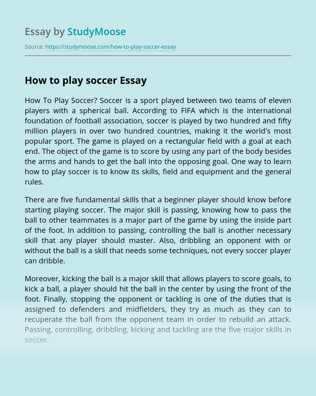 how to start an essay about soccer