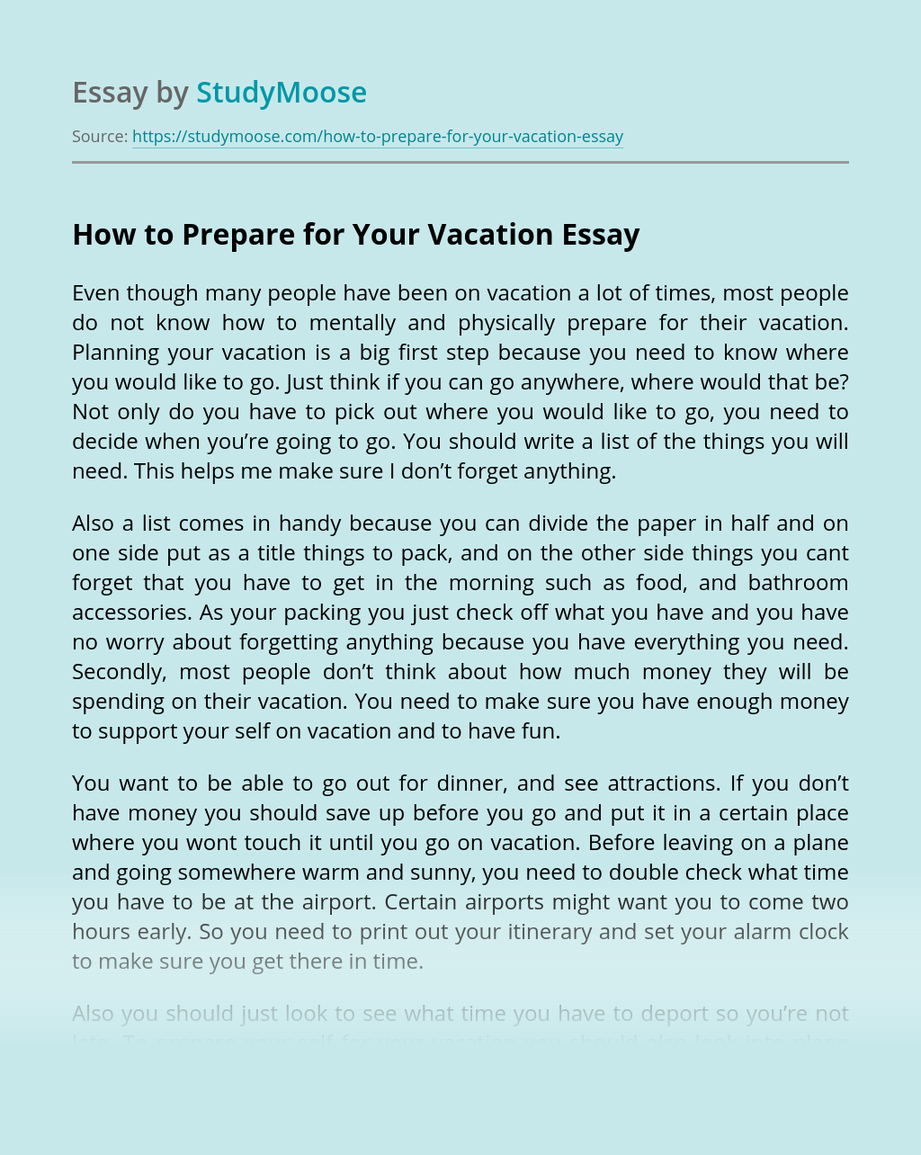 How to Prepare for Your Vacation