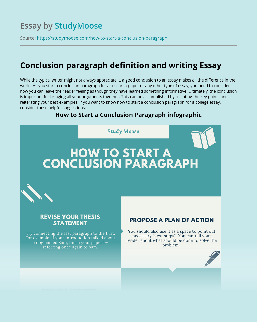 Conclusion paragraph definition and writing