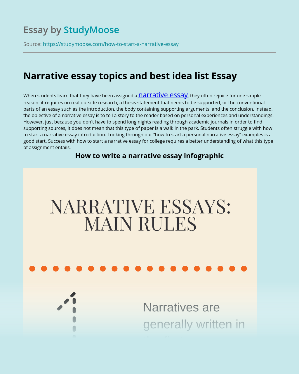 Narrative essay topics and best idea list