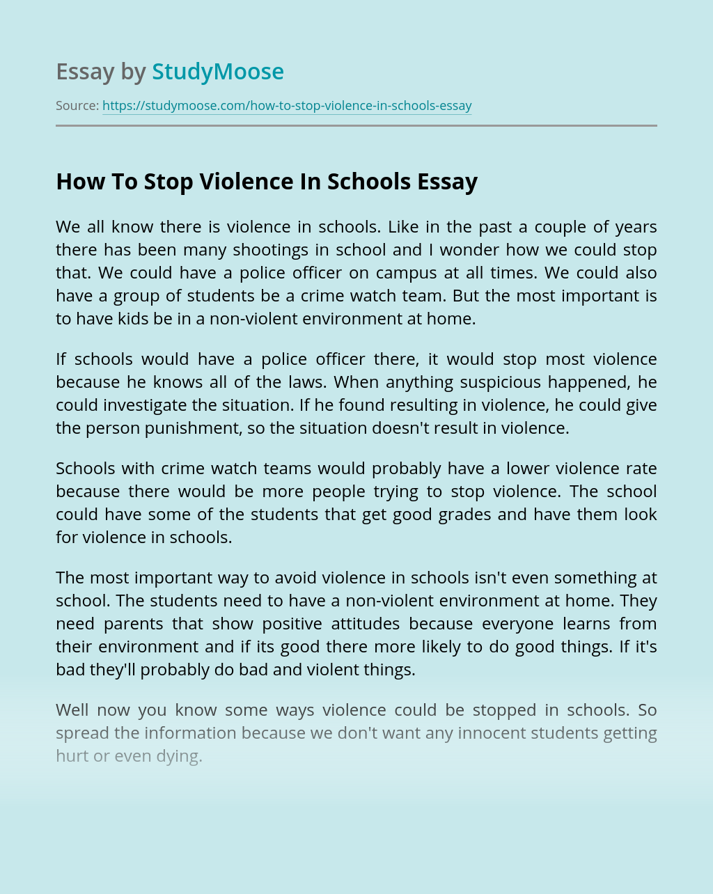 How To Stop Violence In Schools