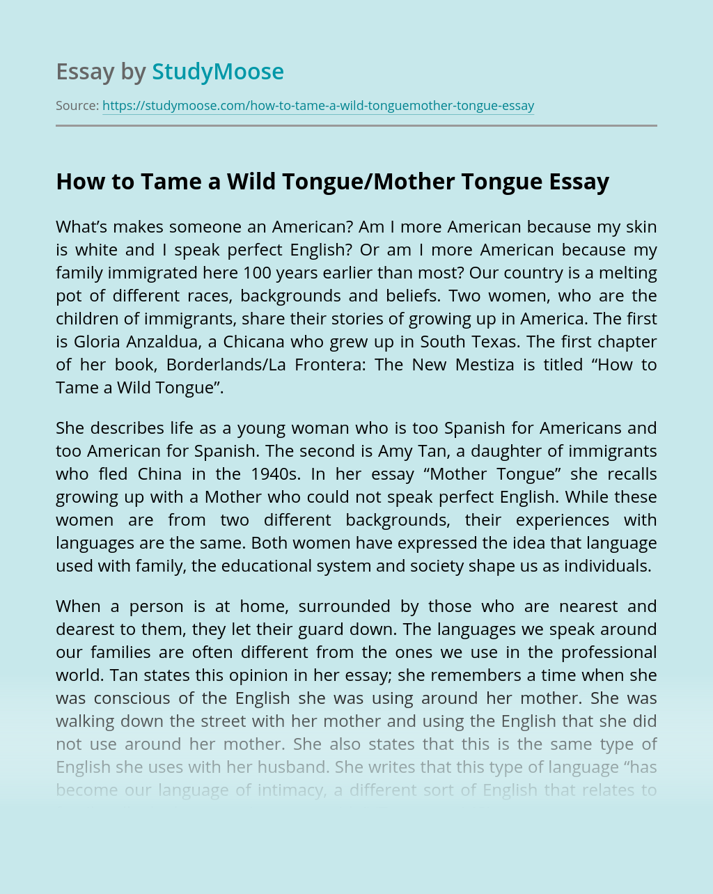 How to Tame a Wild Tongue/Mother Tongue