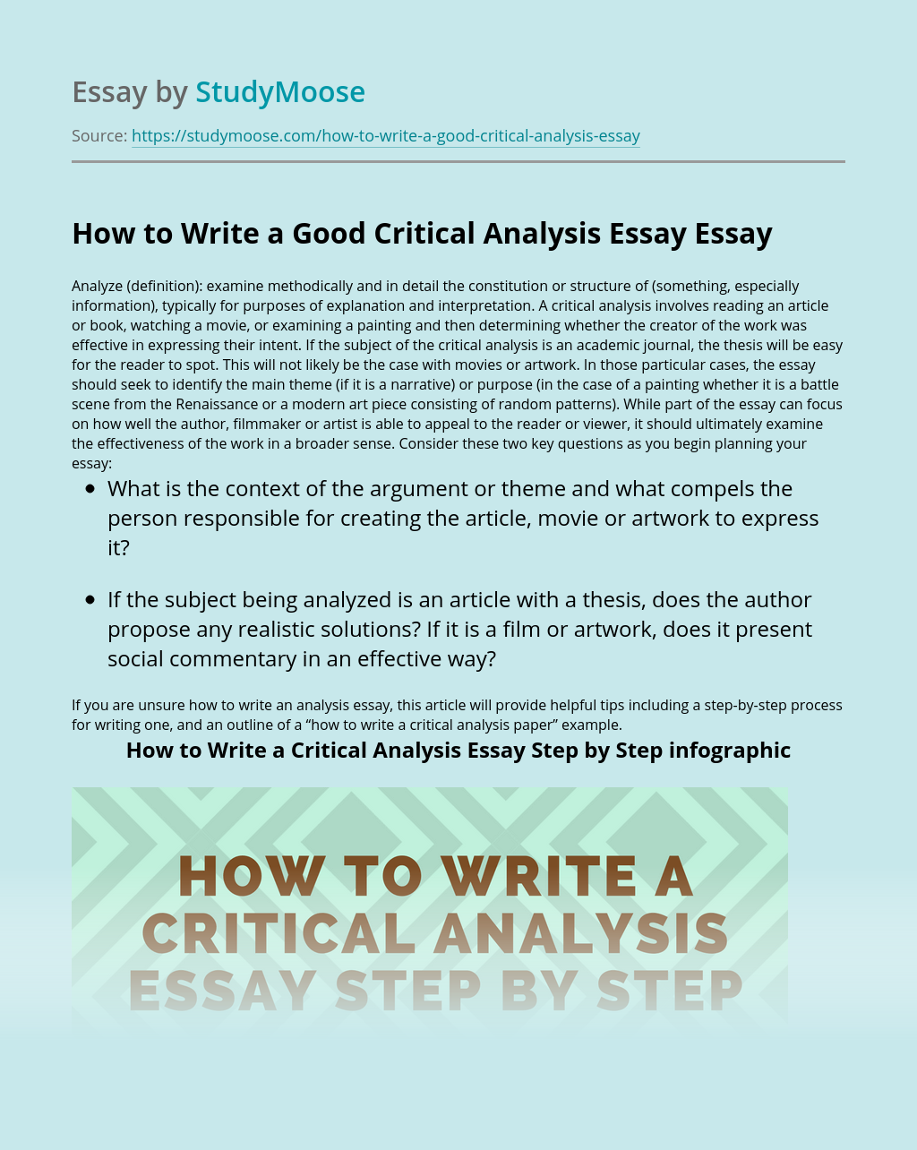 How to Write a Good Critical Analysis Essay