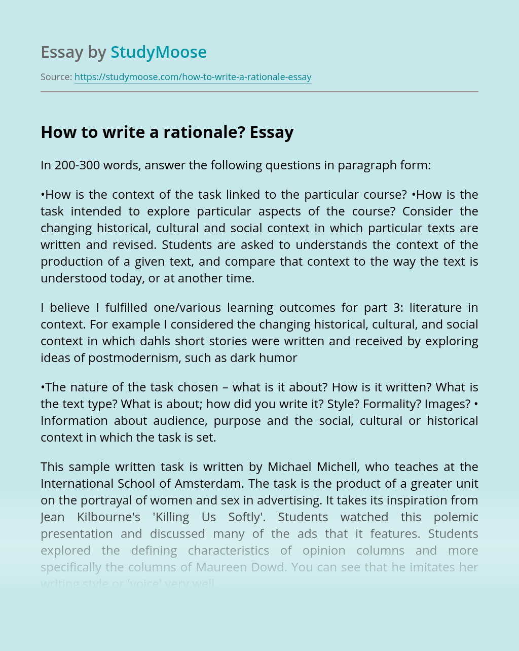 How to write a rationale?