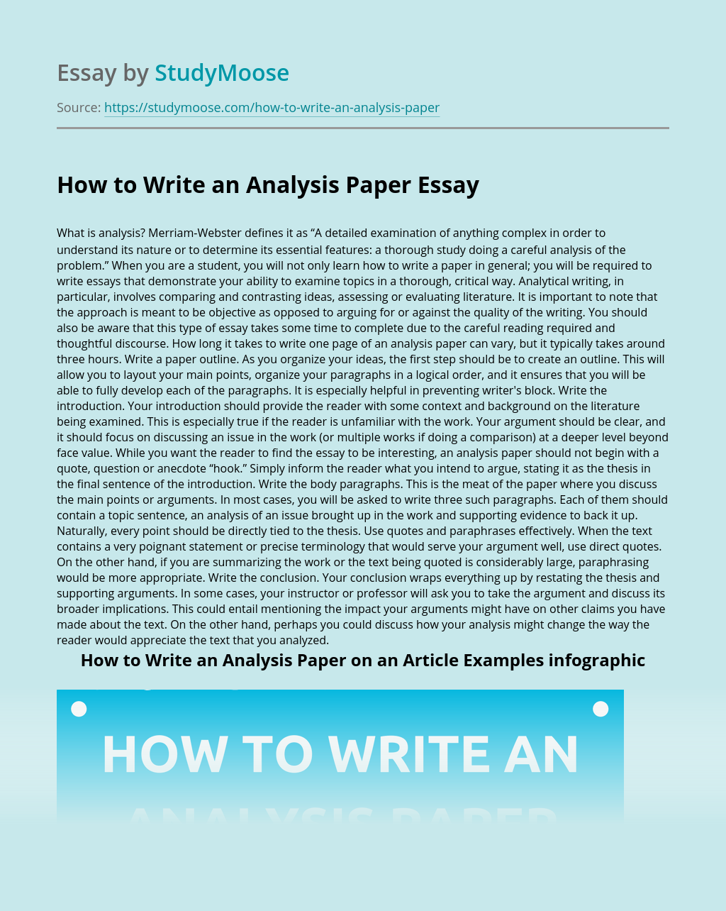 How to Write an Analysis Paper