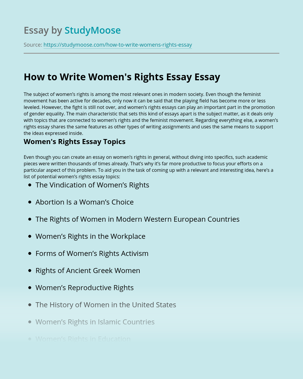 How to Write Women's Rights Essay