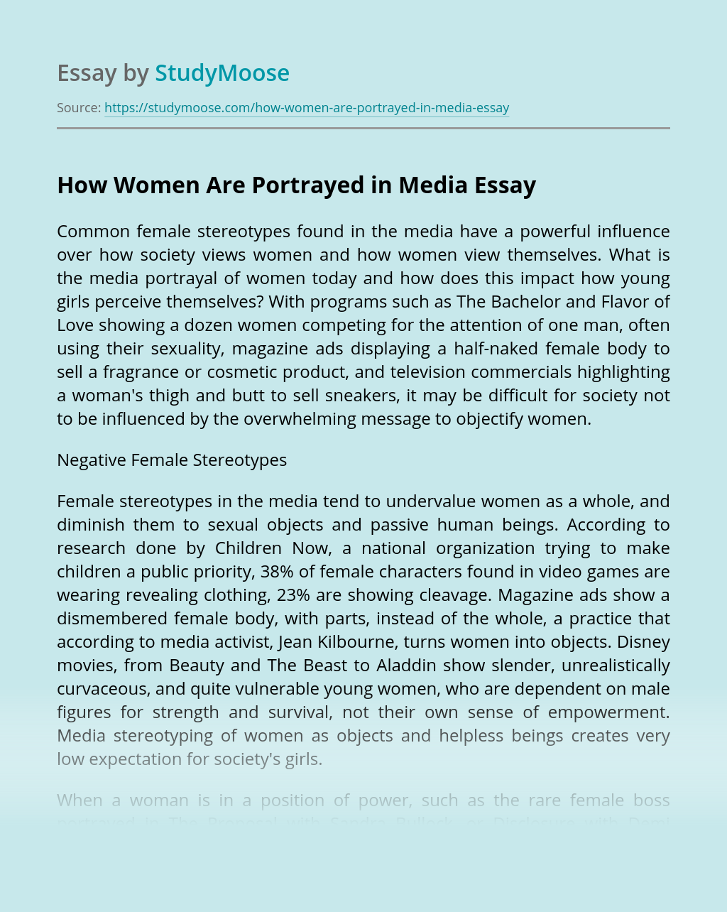 How Women Are Portrayed in Media