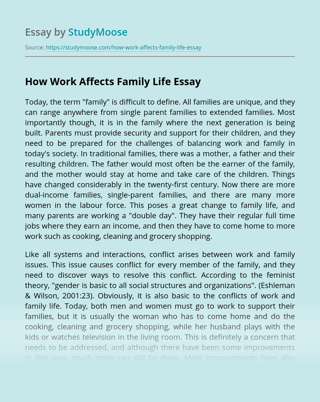 How Work Affects Family Life