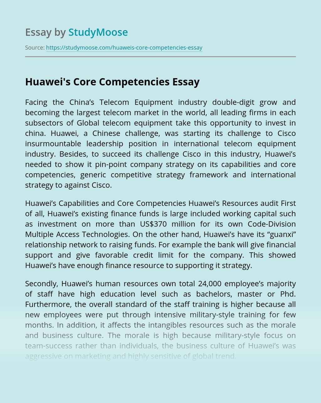 Huawei's Core Competencies