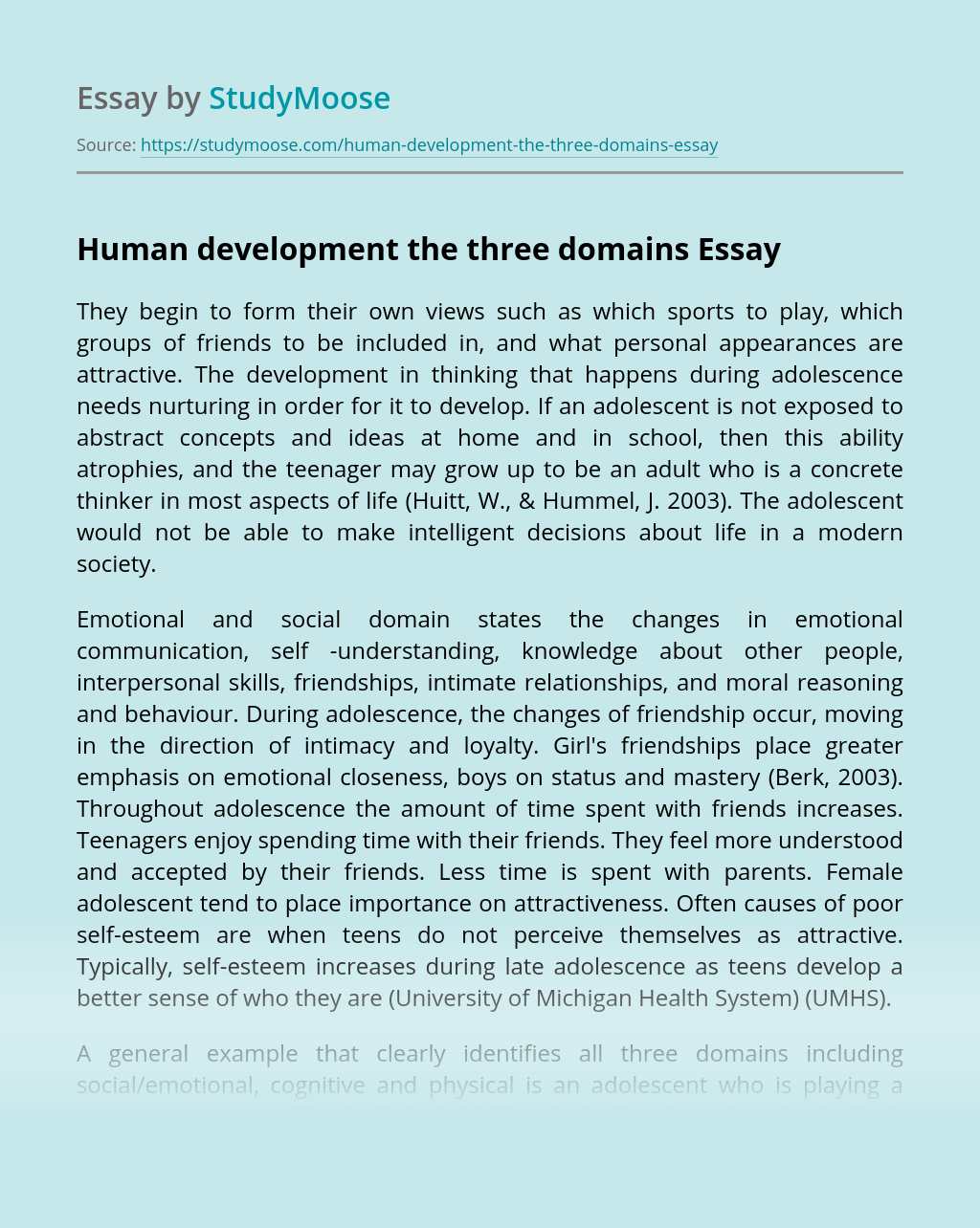 Human development the three domains