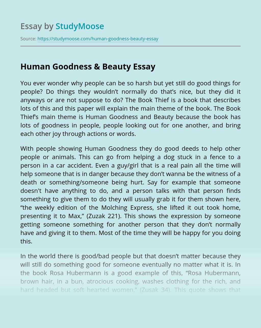 Human Goodness & Beauty