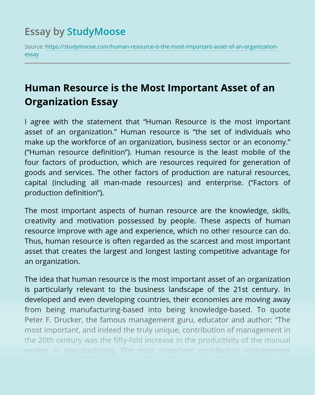 Human Resource is the Most Important Asset of an Organization