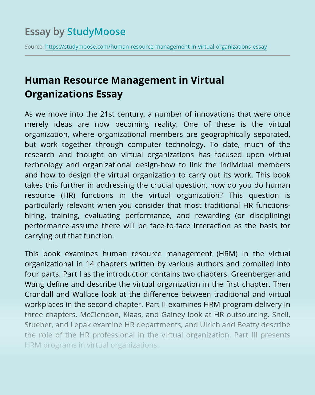 Human Resource Management in Virtual Organizations