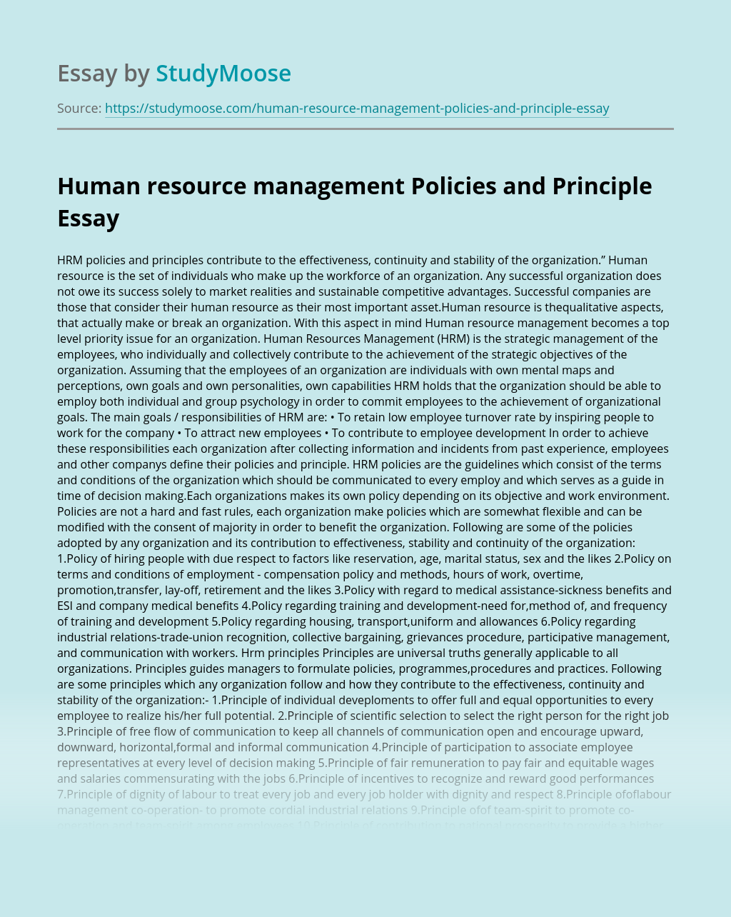 Human resource management Policies and Principle