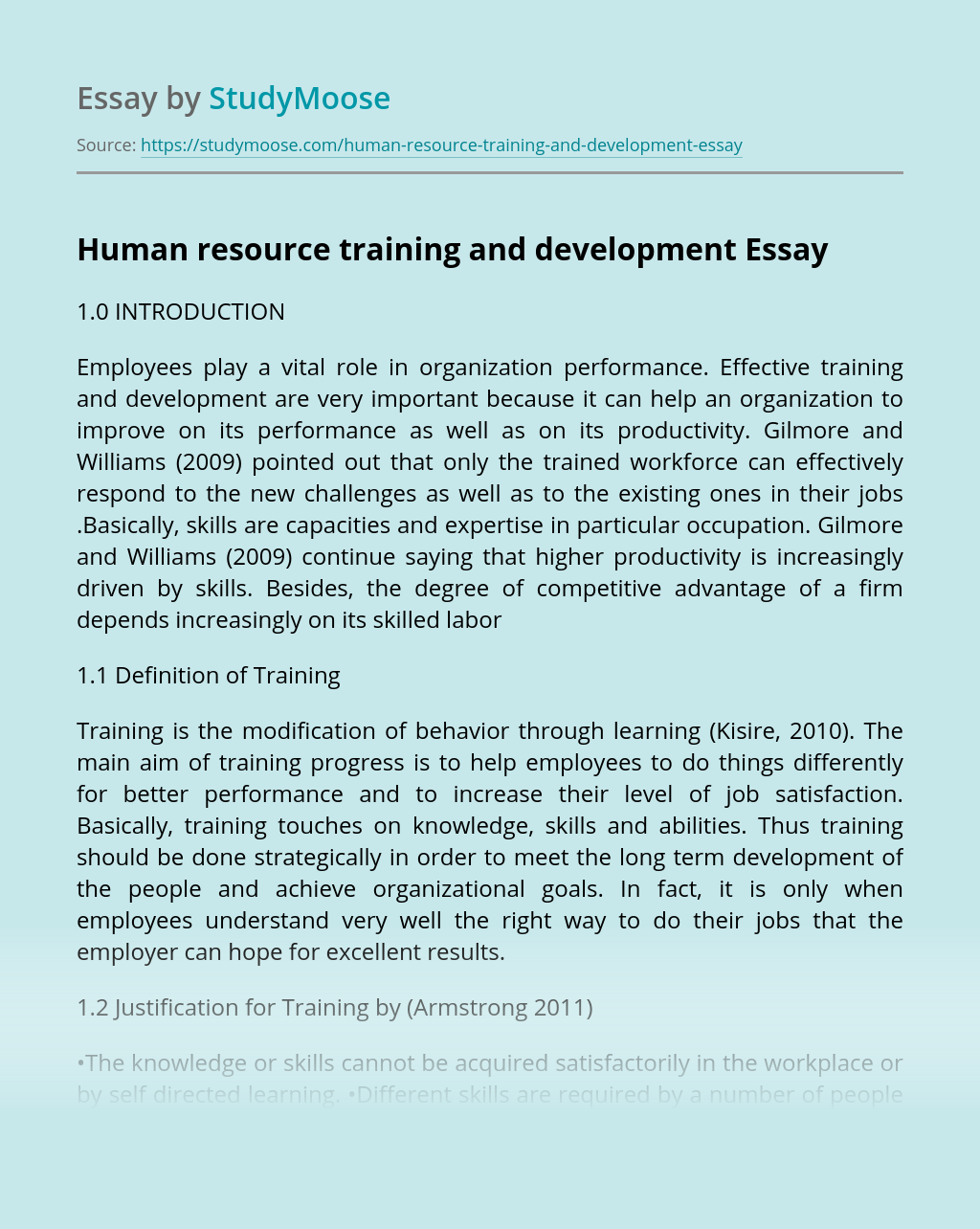 Human resource training and development