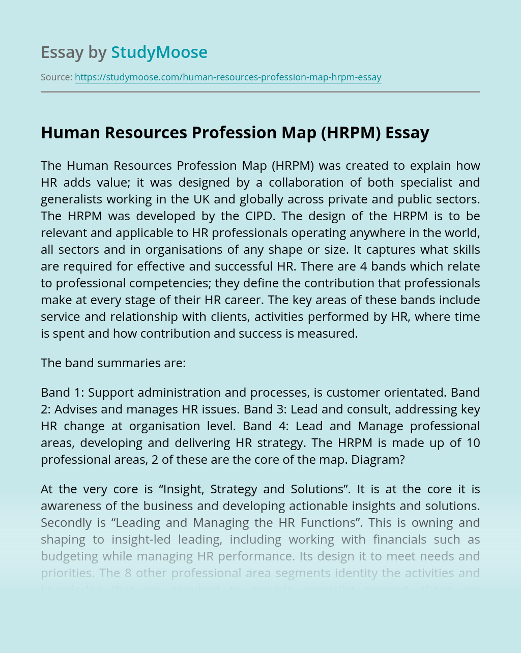 Human Resources Profession Map (HRPM)