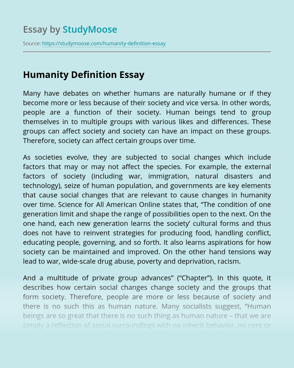 Humanity Definition