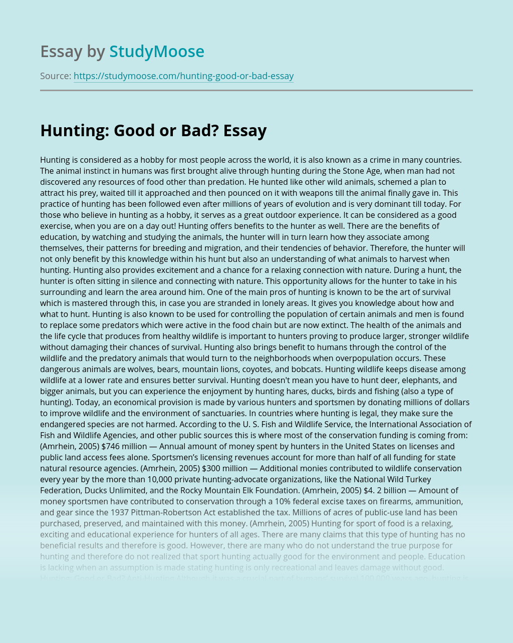 Hunting: Good or Bad?
