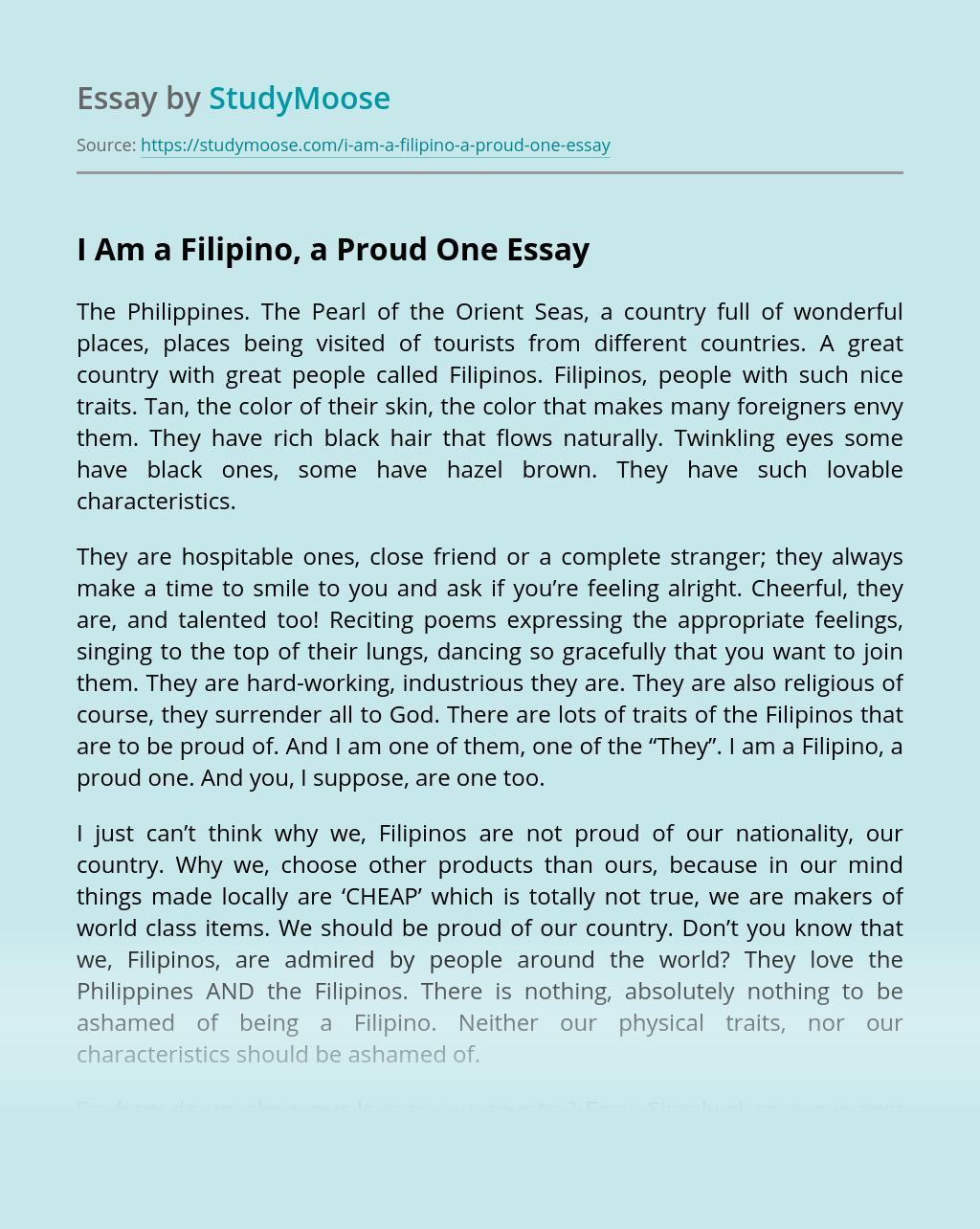 I Am a Filipino, a Proud One