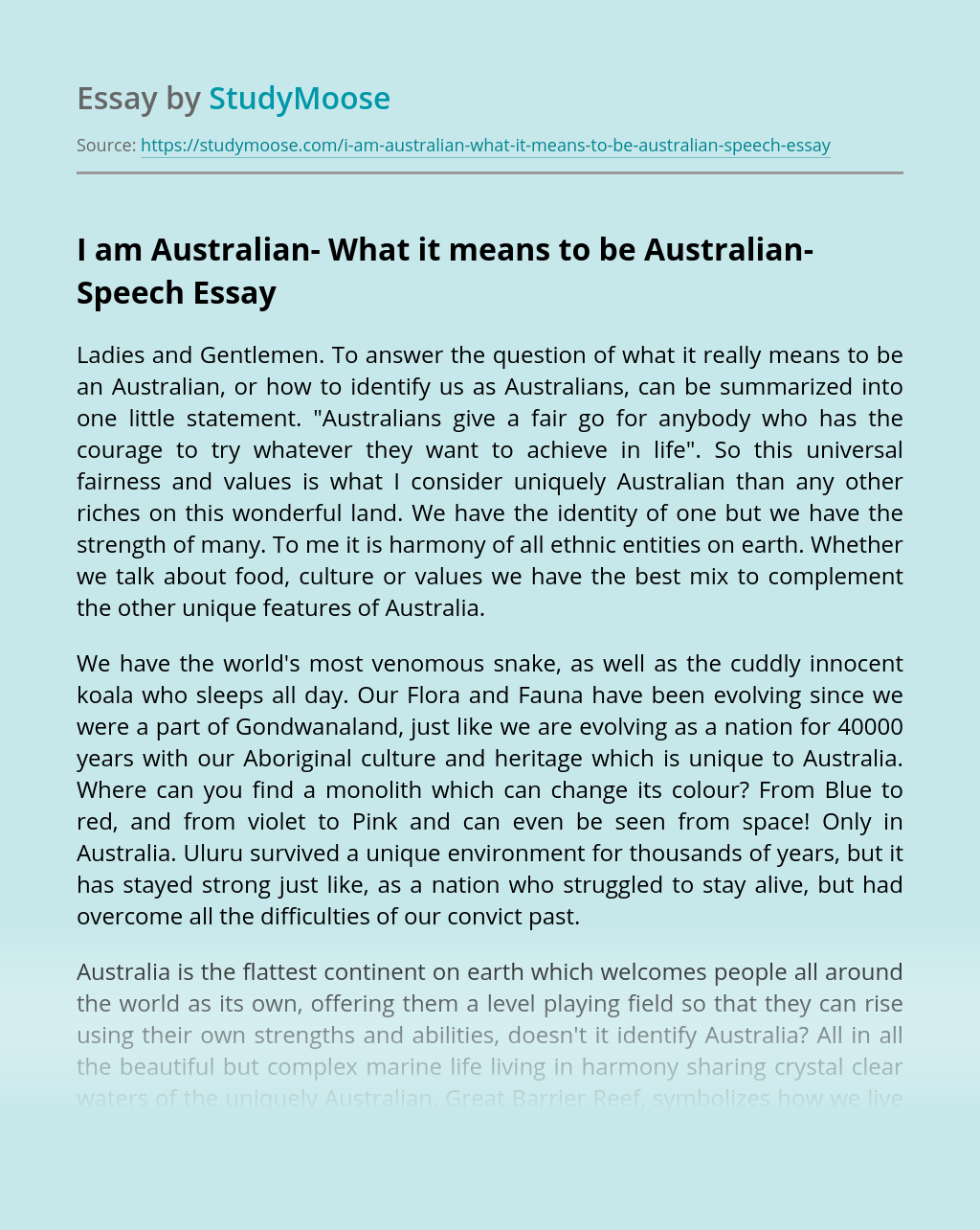 I am Australian- What it means to be Australian- Speech