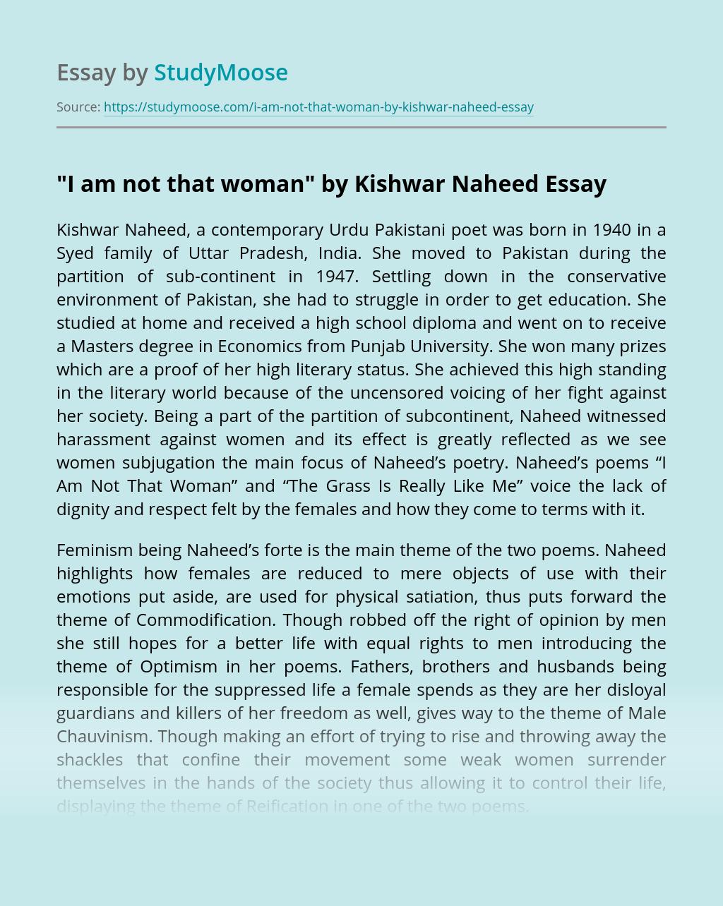 """I am Not that Woman"" by Kishwar Naheed"