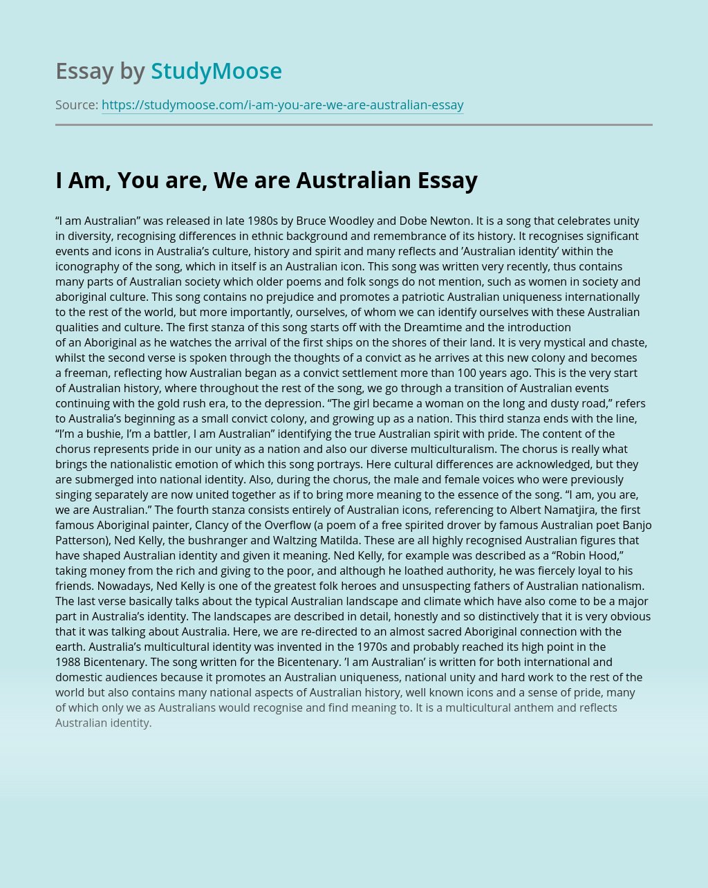 I Am, You are, We are Australian