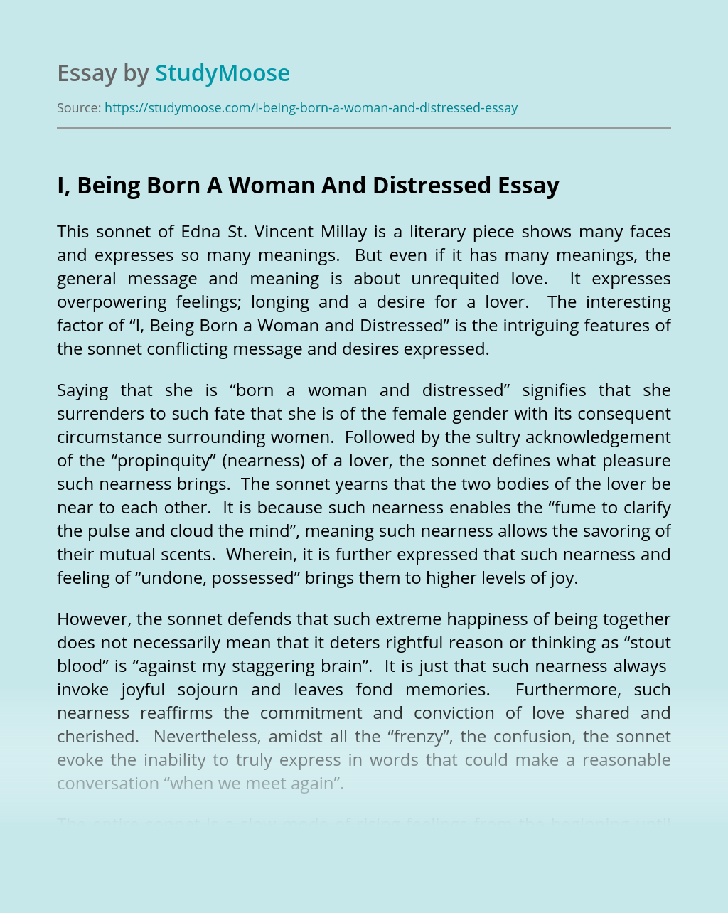 I, Being Born A Woman And Distressed