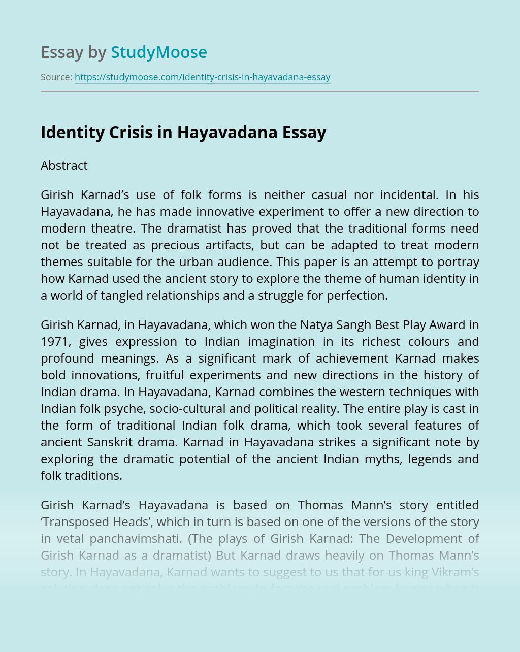 Identity Crisis in Hayavadana