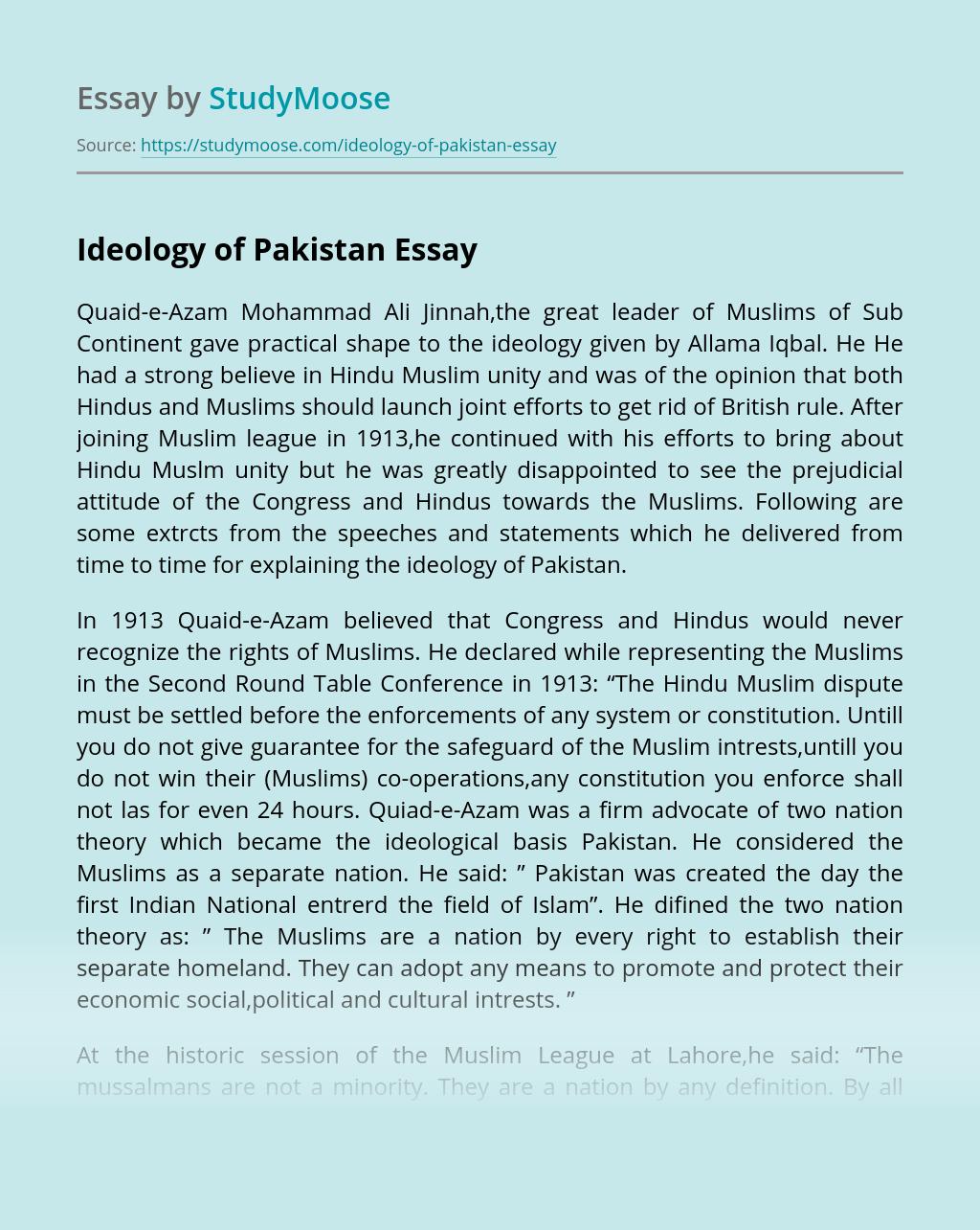 Ideology of Pakistan
