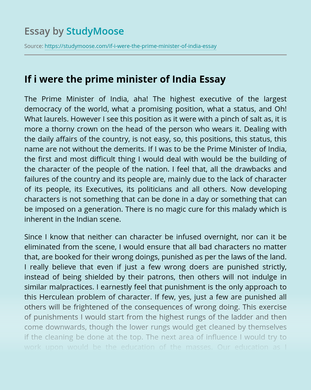 If I Were the Prime Minister of India