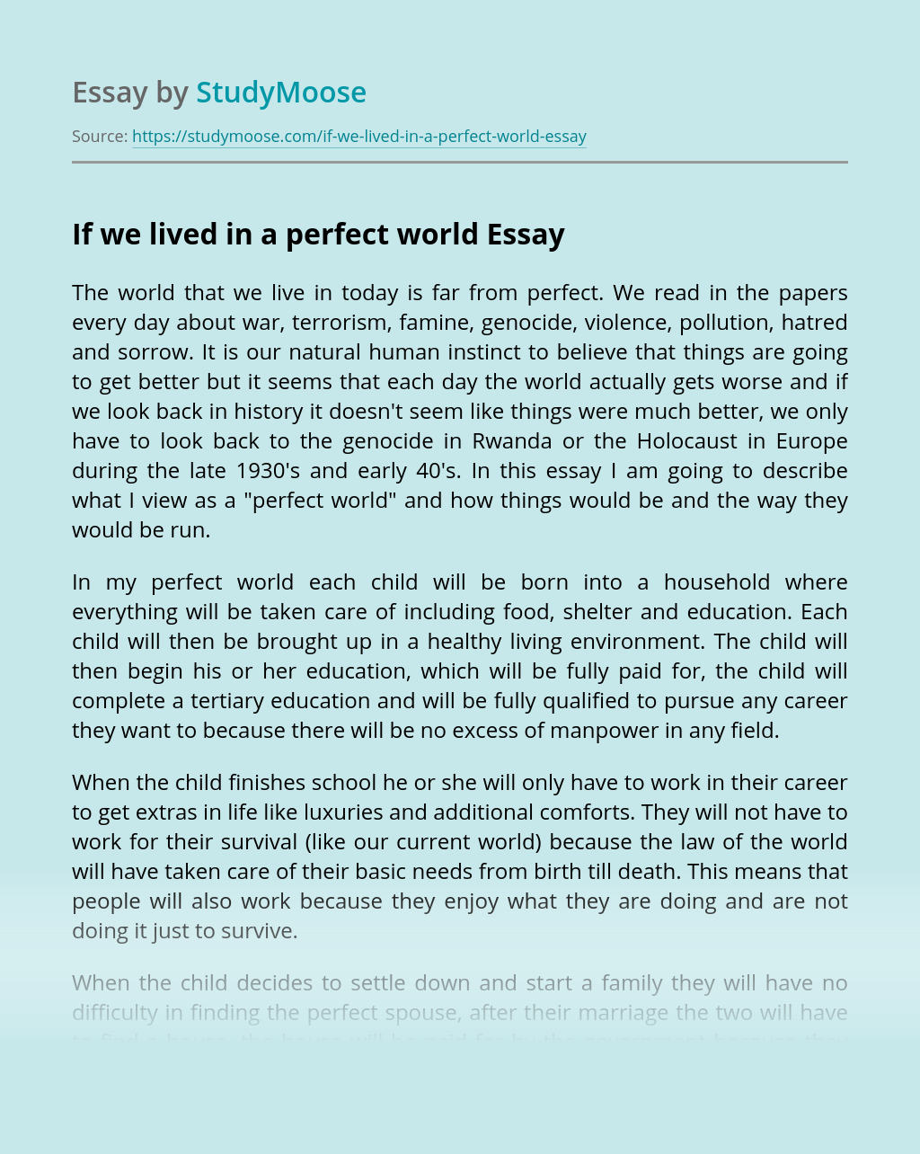 If we lived in a perfect world