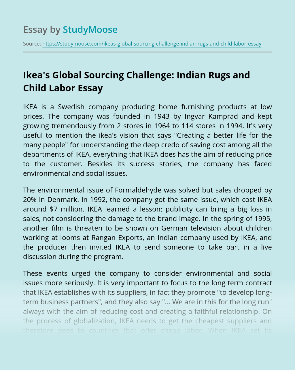 Ikea's Global Sourcing Challenge: Indian Rugs and Child Labor