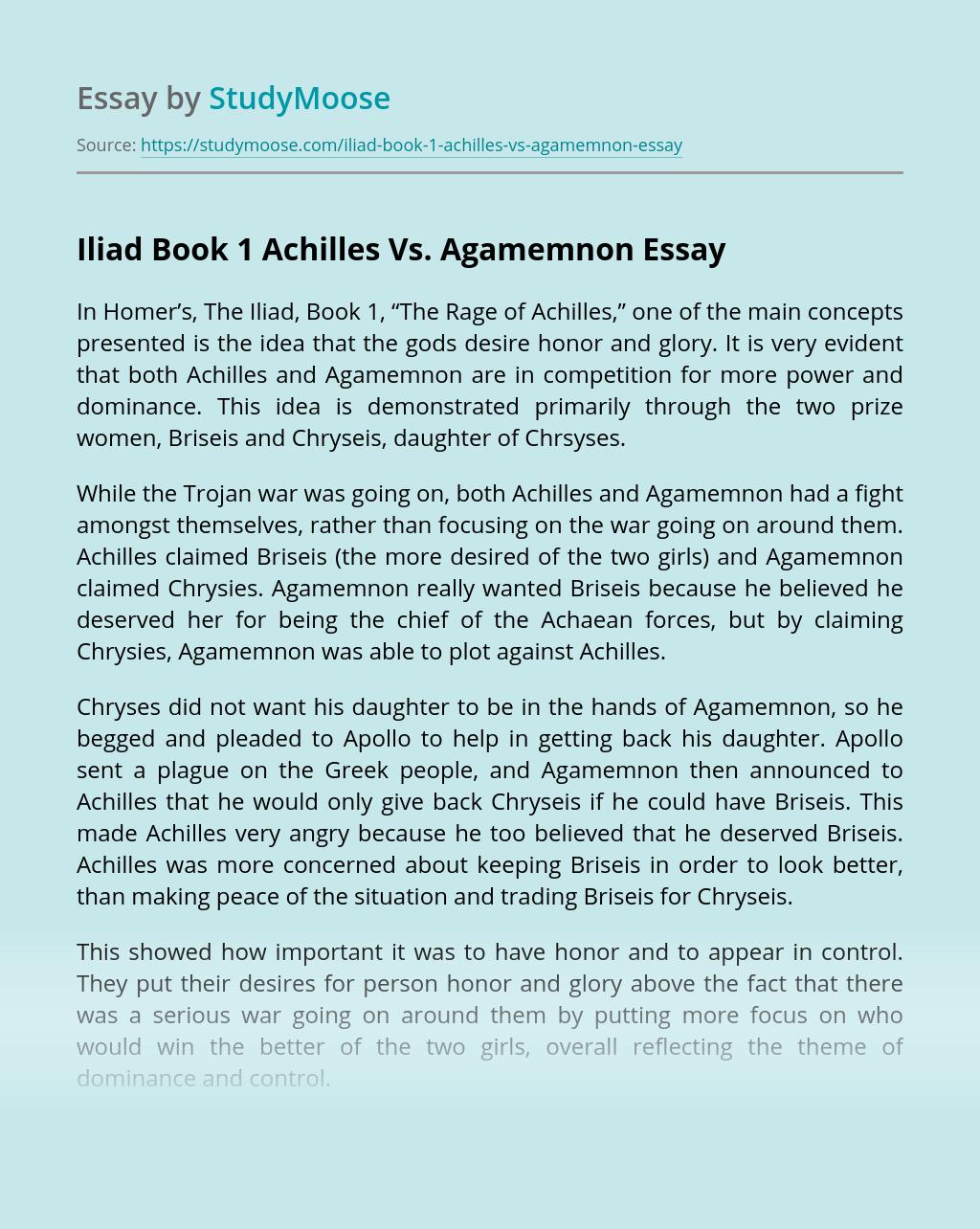 Iliad Book 1 Achilles Vs. Agamemnon