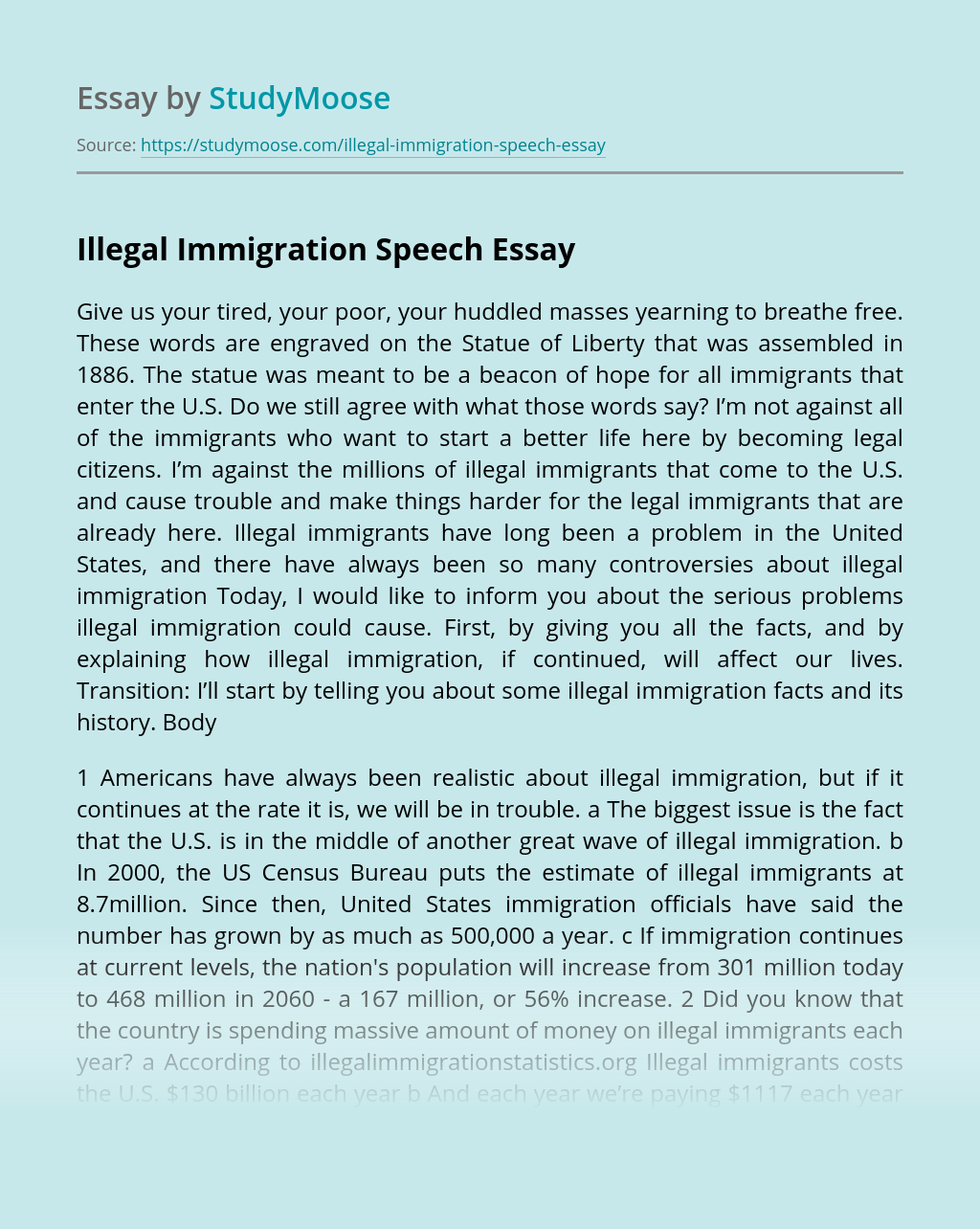 Illegal Immigration Speech