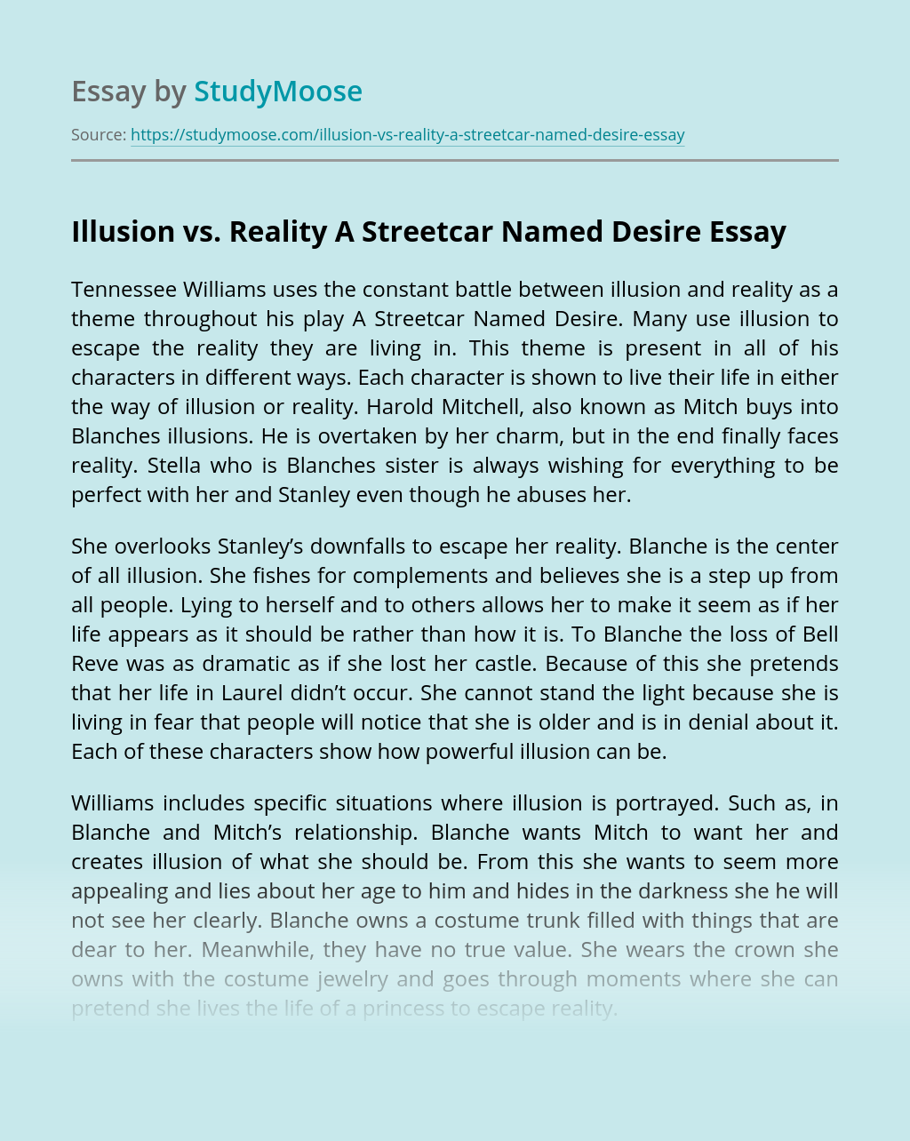 Illusion vs. Reality A Streetcar Named Desire