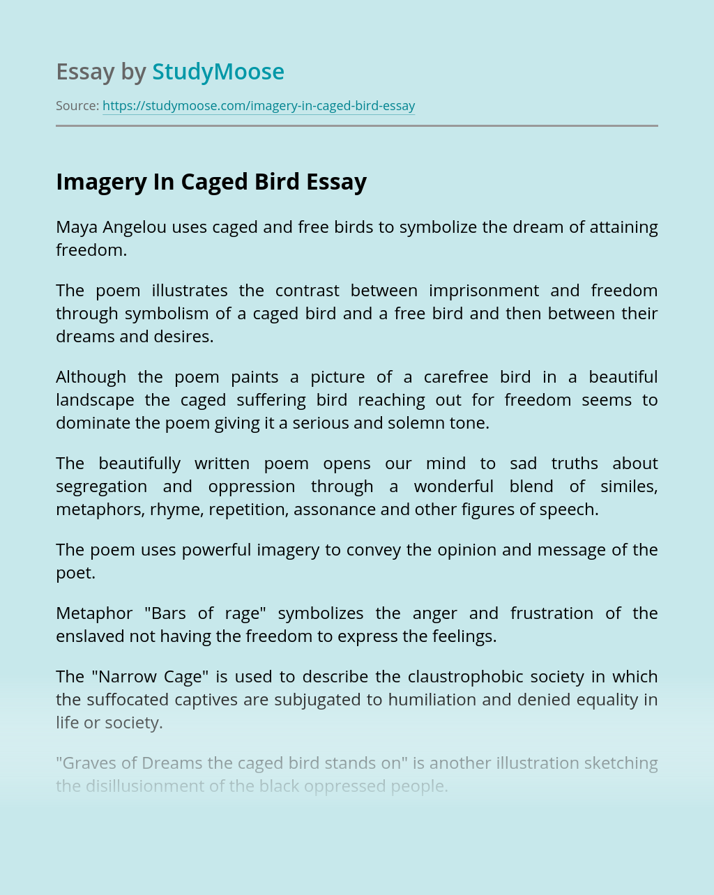 Imagery In Caged Bird