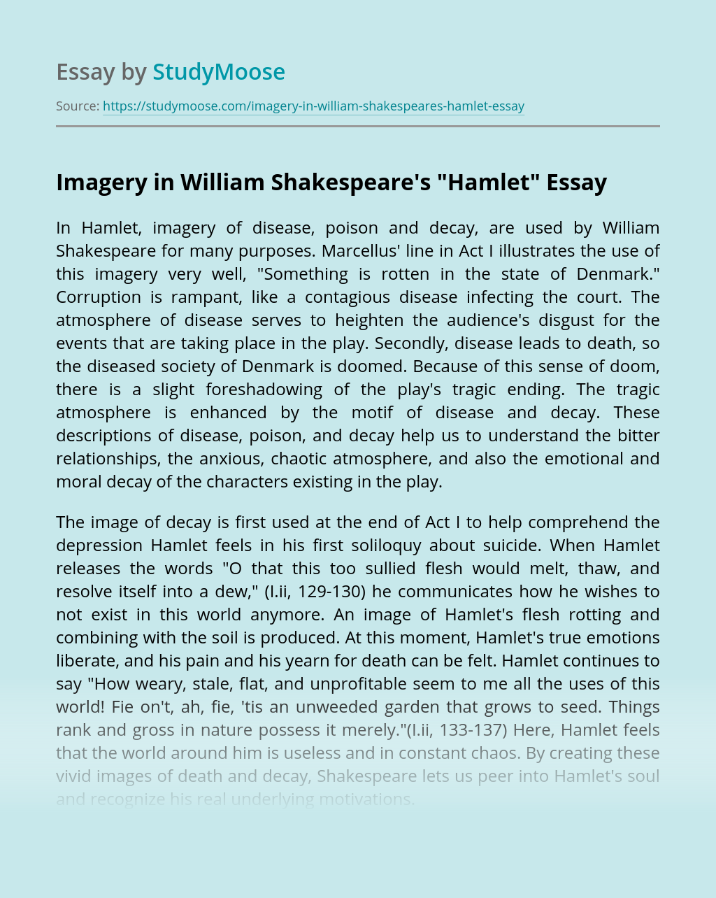 "Imagery in William Shakespeare's ""Hamlet"""
