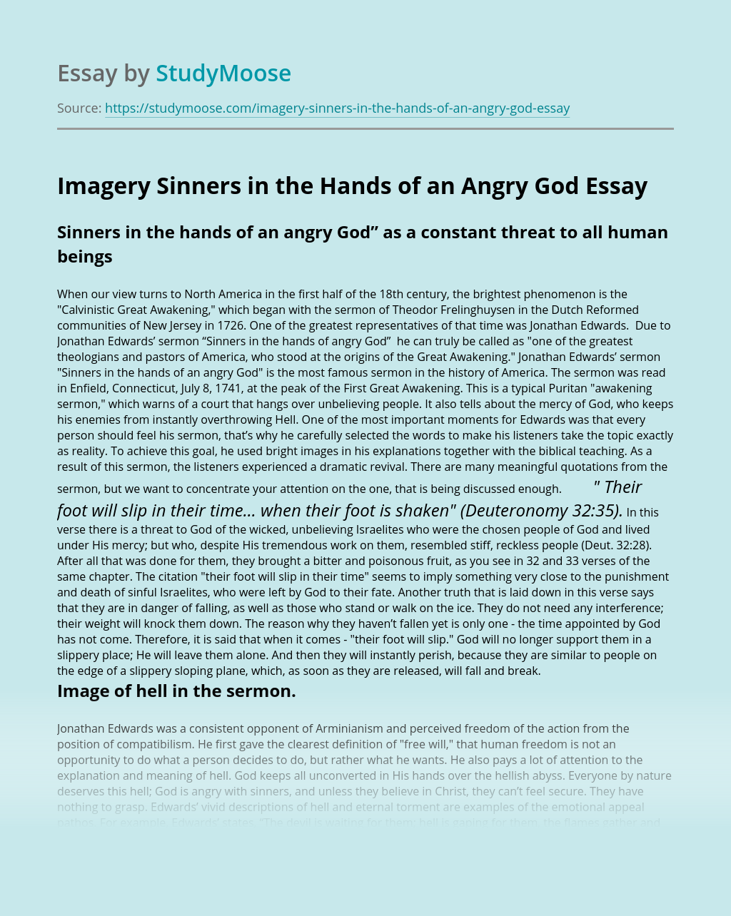 Imagery Sinners in the Hands of an Angry God