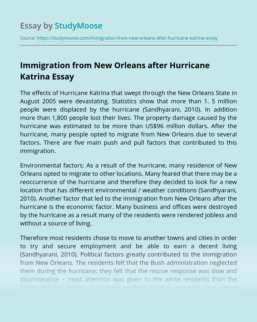 Immigration from New Orleans after Hurricane Katrina