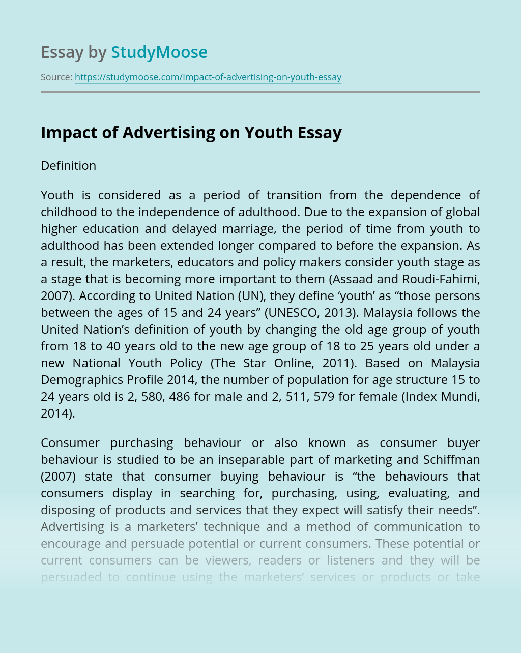 Impact of Advertising on Youth