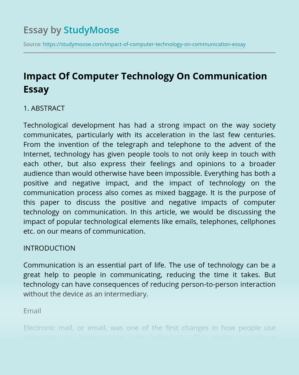 Essays on communication