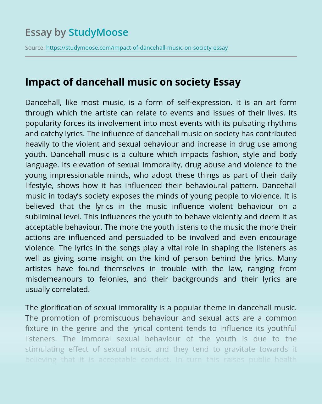 Impact of dancehall music on society