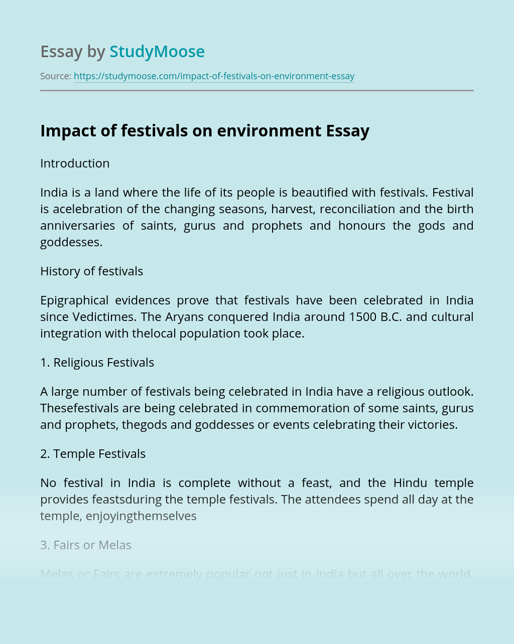 Impact of festivals on environment