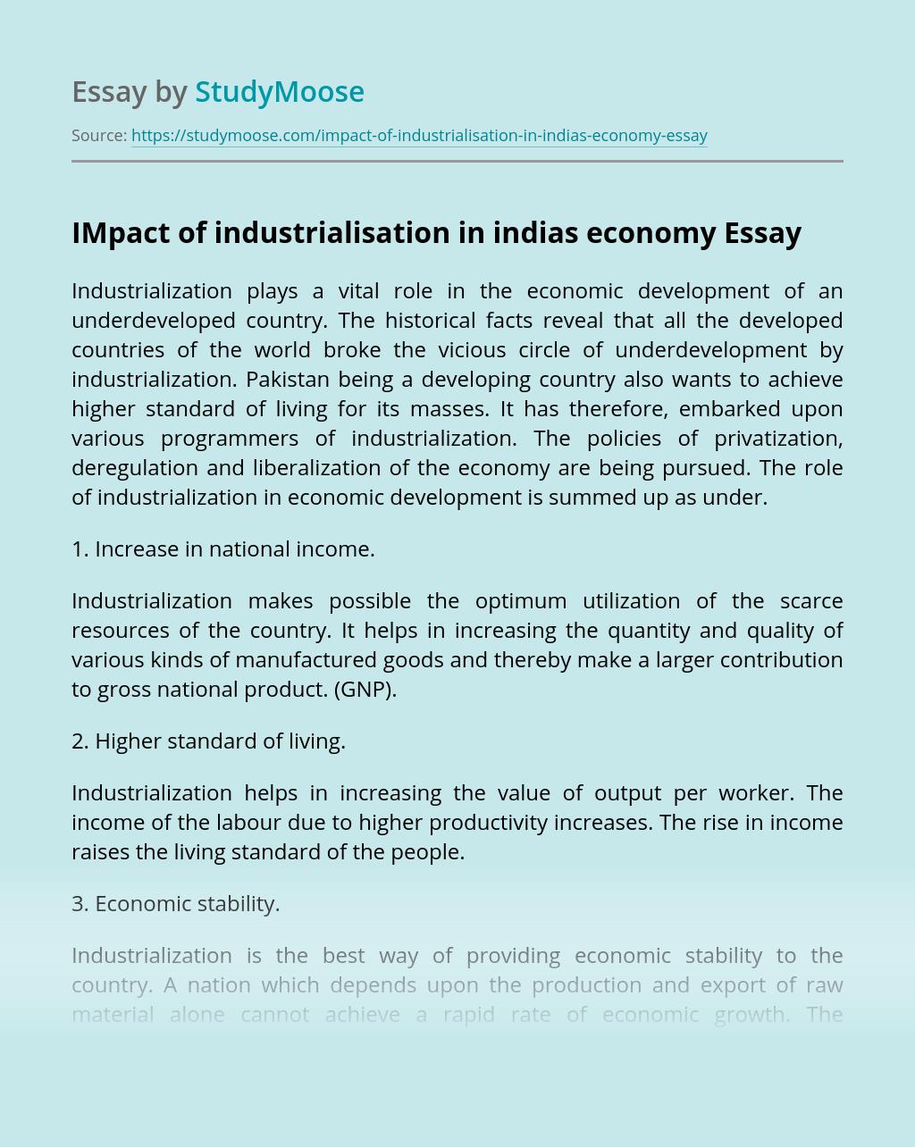 IMpact of industrialisation in indias economy
